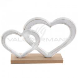 Double coeurs enlacés sur socle en bois - pièce en stock