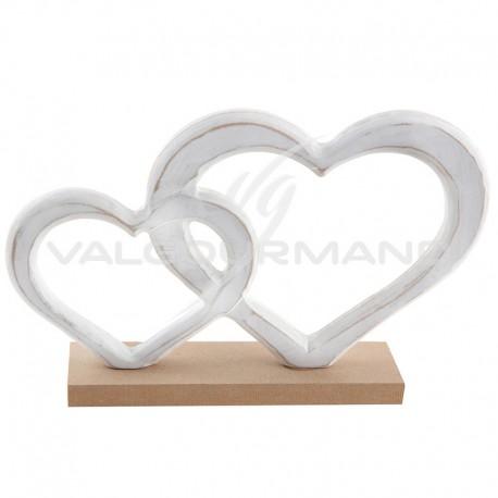 Double coeurs enlacés sur socle en bois - pièce