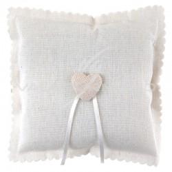 Coussin coeur en coton BLANC - pièce en stock