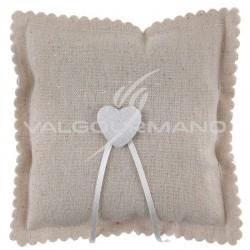 Coussin coeur en coton NATUREL - pièce en stock