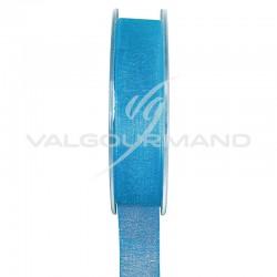 Ruban 15MM en organdi TURQUOISE - la bobine de 20 mètres