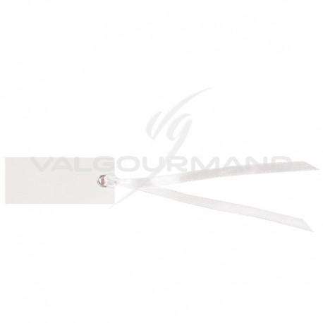 Marque-places rectangle et ruban BLANC - 12 pièces