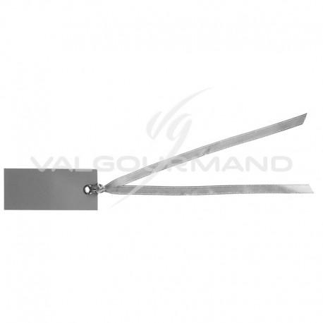 Marque-places rectangle et ruban GRIS - 12 pièces