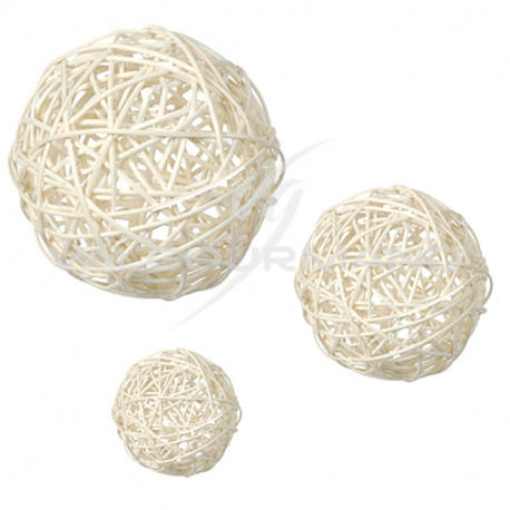 Boules Rotin tressé BLANC/NATUREL - 10 pièces assorties