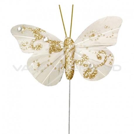 Papillons pailletés sur tige IVOIRE - 6 pièces