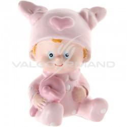Sujets bébé avec son hochet ROSE - 2 pièces