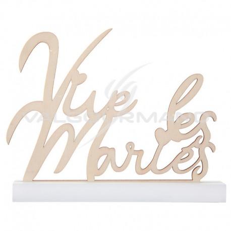 Lettres Vive les Mariés sur socle en bois - pièce