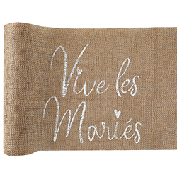 Chemin de table Vive les Mariés en jute - pièce en stock