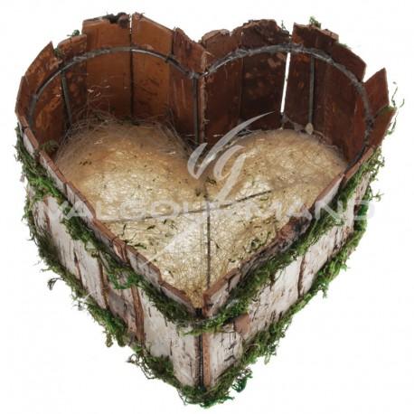 Panière en bois et mousse forme Coeur - pièce