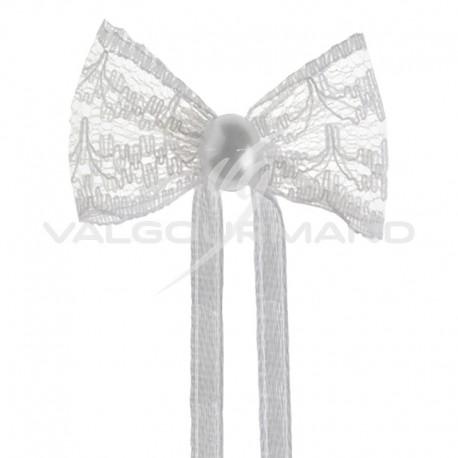 Noeuds dentelle et perle sur ruban BLANC - 10 pièces