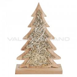 Déco sapin de Noël paillettes or en bois - pièce