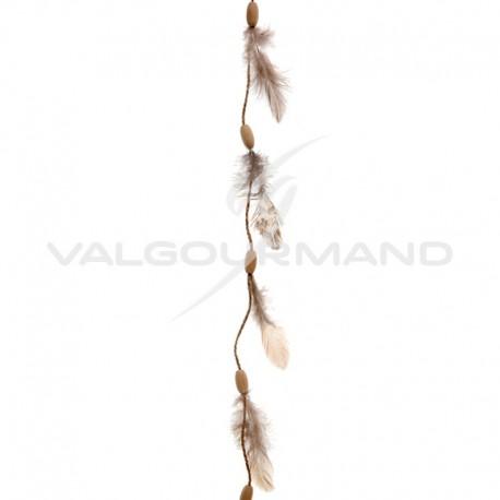 Guirlande plume et bois - pièce