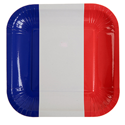 Assiettes en carton drapeau bleu blanc rouge France - 10 pièces en stock