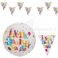 Banderole et lanternes Joyeux Anniversiare - le lot en stock