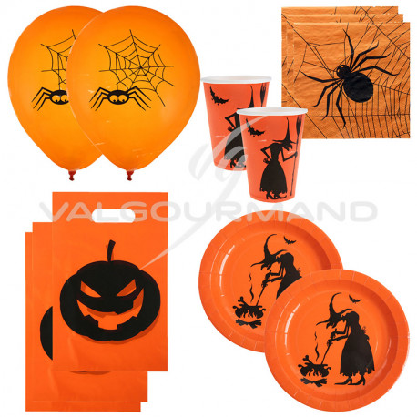 Sacs, assiettes, gobelets, serviettes et ballons Halloween ORANGE - le lot