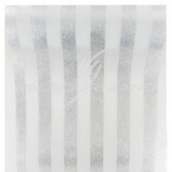 Chemin de table Rayures ARGENT/BLANC - pièce en stock