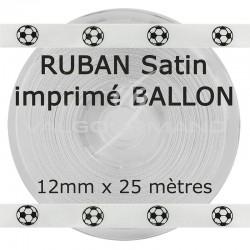 Ruban blanc en satin imprimé BALLON - la bobine de 25 mètres