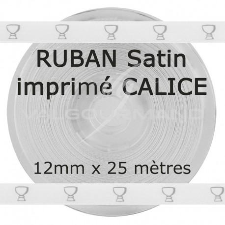 Ruban blanc en satin imprimé CALICE argent - la bobine de 25 mètres