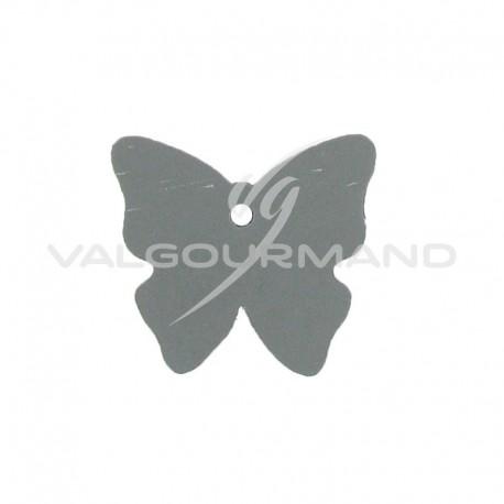 Etiquettes papillon GRIS - 4 vignettes