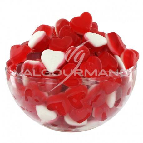 Petits coeurs fraise crème lisses - 1kg