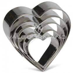 Lot de 5 découpoirs / emporte-pièces cœur Patisse INOX en stock