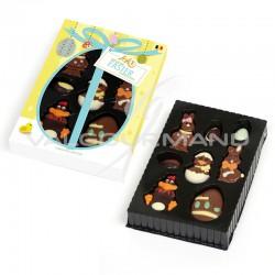 Sujets assortis de Pâques en chocolat décoré - Etui de 100g en stock