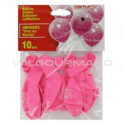 Ballons gonflables Vive les mariés ROSE - 10 pièces en stock