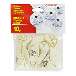 Ballons gonflables Vive les Mariés BLANC - 10 pièces en stock