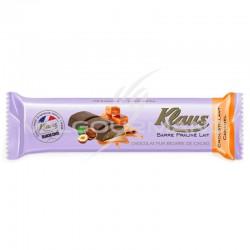 Barres chocolat Lait croustillant et caramel Klaus - boîte de 32 en stock