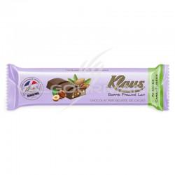 Barres chocolat Praliné lait amandes Klaus - boîte de 32 en stock
