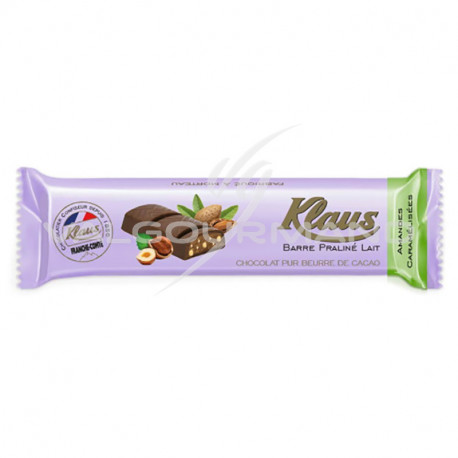 Barres chocolat Praliné lait amandes Klaus - boîte de 32