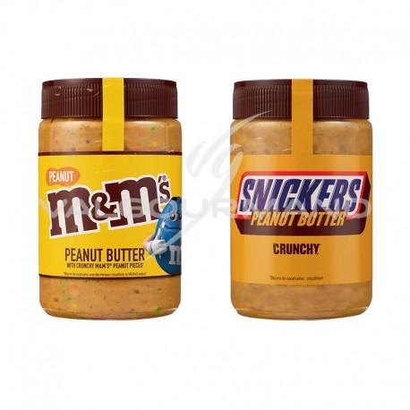 Pâtes à tartiner M&M's et Snickers peanut butter 320g - les 2 pots assortis