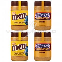 ~Pâtes à tartiner M&M's et Snickers peanut butter 320g - les 4 pots assortis en stock