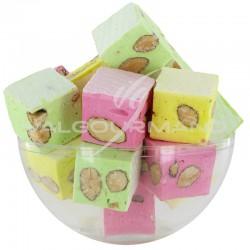 Nougats aux amandes cubes tendres assortis - 3kg en stock