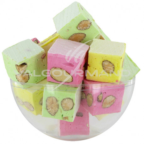 Nougats aux amandes cubes tendres assortis - 3kg