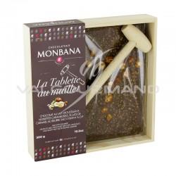 Tablette lait à casser 300g Monbana + maillet - coffret bois de 300g en stock