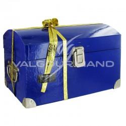 Coffre bleu en carton - pièce en stock