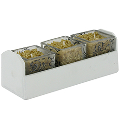 Trio de bougies cube OR et barquette en bois - pièce en stock