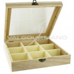 Coffret en bois 9 compartiments - pièce