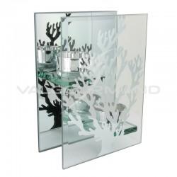 Bougeoir déco miroir en verre et Arbre GM - pièce en stock