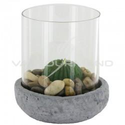 Bougeoir ciment et verre Cactus - pièce