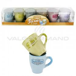 Tasses à café décor Comme autrefois - set de 6 en stock