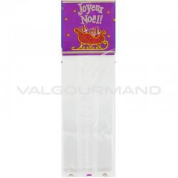 Sachets Joyeux Noël lilas avec soufflet - 100 pièces