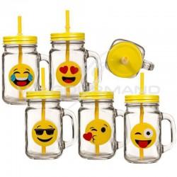 Mug en verre avec couvercle et paille Emoji - pièce