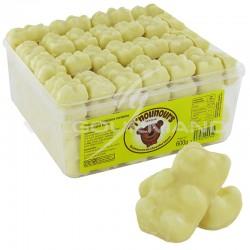 Oursons en guimauve et chocolat blanc - tubo de 600g en stock