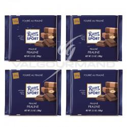 Lot de 4 tablettes Ritter sport fourré praline lait 100g
