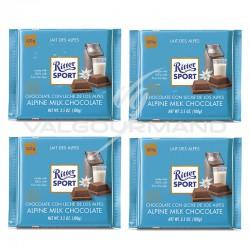 Lot de 4 tablettes Ritter sport lait des Alpes 100g