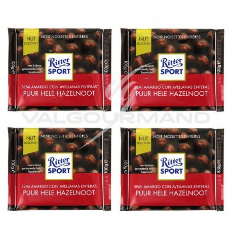 Lot de 4 tablettes Ritter sport noir noisettes 100g