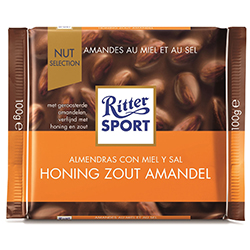 Lot de 4 tablettes Ritter Sport amandes au miel et au sel 100g