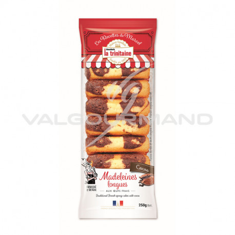 Madeleines longues marbrées chocolat 250g - 6 paquets